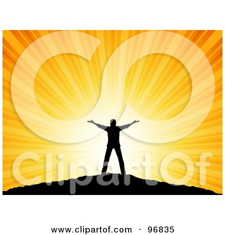 Royalty-Free (RF) Clipart Illustration of a Joyful Silhouetted Man Raising His Arms Against The Sunset On Top Of A Hill by KJ Pargeter