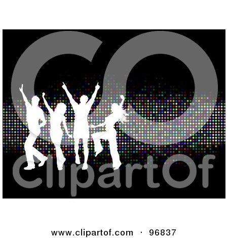 Royalty-Free (RF) Clipart Illustration of Young White Silhouetted People Dancing Over Sparkly Colorful Dots On Black by KJ Pargeter