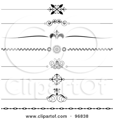 Royalty-Free (RF) Clipart Illustration of a Digital Collage Of Black And White Ornate Website Rule Dividers by KJ Pargeter