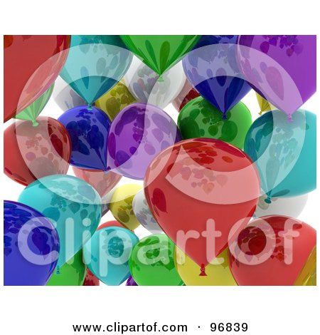 Royalty-Free (RF) Clipart Illustration of a Background Of A Crowd Of Colorful 3d Shiny Balloons by KJ Pargeter