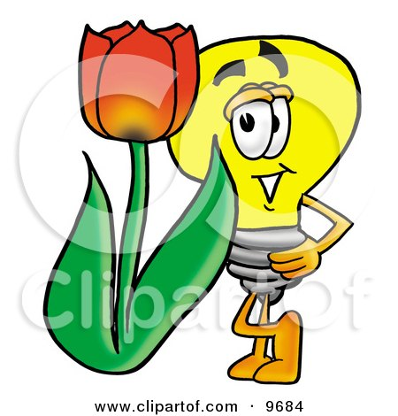 Light Bulb Mascot Cartoon Character With a Red Tulip Flower in the Spring Posters, Art Prints