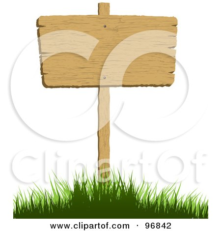 Royalty-Free (RF) Clipart Illustration of a Blank Wood Sign Posted In A Grassy Hill by KJ Pargeter