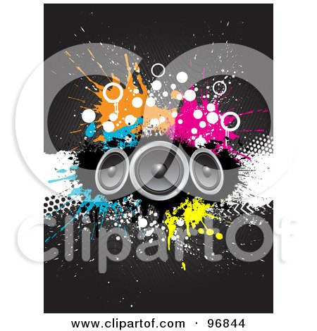 Royalty-Free (RF) Clipart Illustration of Three Speakers Over Grungy Splatters And Halftones On A Gray Background by KJ Pargeter