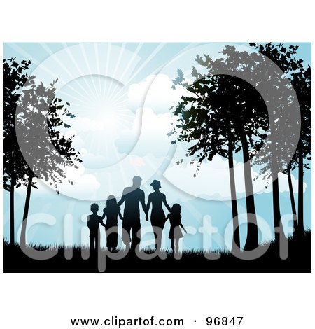Royalty-Free (RF) Clipart Illustration of a Silhouetted Black Family Holding Hands And Walking Through Trees Under The Shining Sun by KJ Pargeter