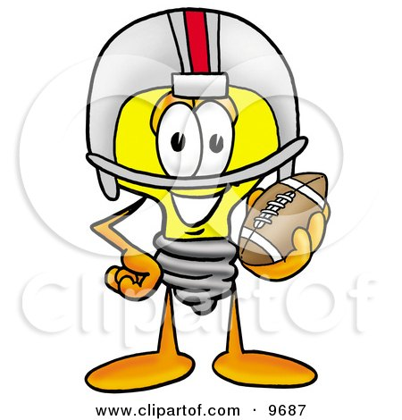 Clipart Picture of a Light Bulb Mascot Cartoon Character in a Helmet, Holding a Football by Toons4Biz