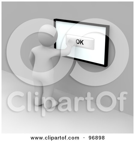 Royalty-Free (RF) Clipart Illustration of a 3d Blanco Man Pushing An Ok Button On A Touch Screen by Jiri Moucka