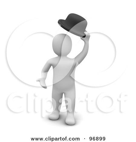 Royalty-Free (RF) Clipart Illustration of a 3d Blanco Man Greeting By Lifting His Hat by Jiri Moucka