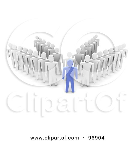 Royalty-Free (RF) Clipart Illustration of a 3d Blue Man Standing In Front Of Four Rows Of Followers by Jiri Moucka