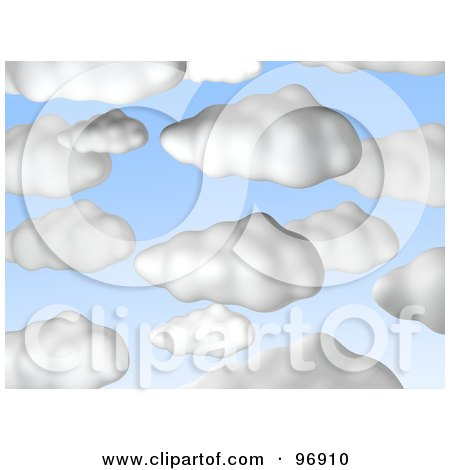 Royalty-Free (RF) Clipart Illustration of a Background Of Puffy White 3d Clouds In A Blue Sky by Jiri Moucka