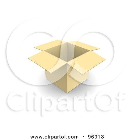 Royalty-Free (RF) Clipart Illustration of a 3d Open, Empty Cardboard Box by Jiri Moucka