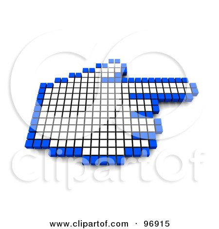 Royalty-Free (RF) Clipart Illustration of a 3d Blue And White Pixel Hand Cursor by Jiri Moucka