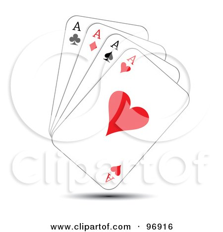 Royalty-Free (RF) Clipart Illustration of a Hand Of Ace Playing Cards by MilsiArt