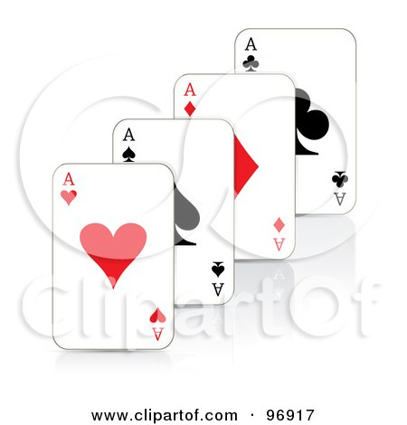 Royalty-Free (RF) Clipart Illustration of a Row Of Ace Playing Cards by MilsiArt