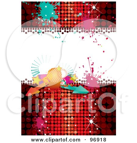 Royalty-Free (RF) Clipart Illustration of a Disco Party Background With A Ball, Arrows And Splatters Over Red by MilsiArt