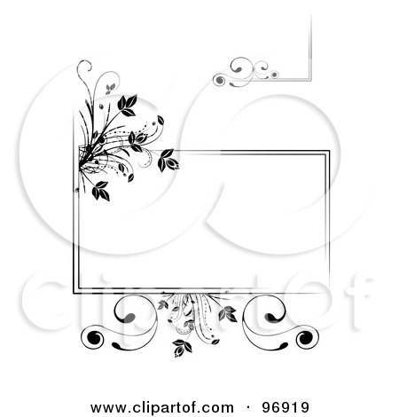 Royalty-Free (RF) Clipart Illustration of a Digital Collage Of Black Floral Frame Elements by MilsiArt