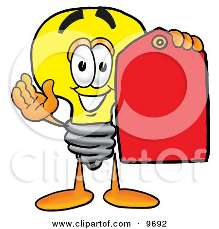Clipart Picture of a Light Bulb Mascot Cartoon Character Holding a Red Sales Price Tag by Toons4Biz