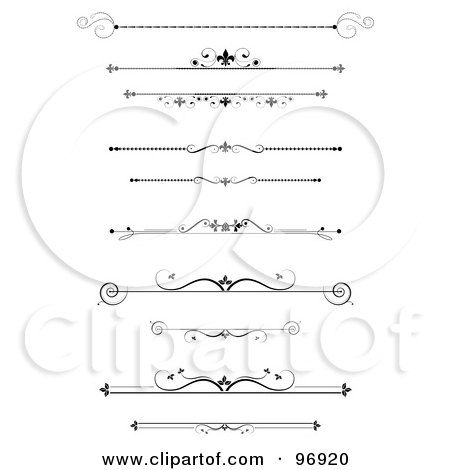Royalty-Free (RF) Clipart Illustration of a Digital Collage Of Black Ornamental Divider Lines by MilsiArt