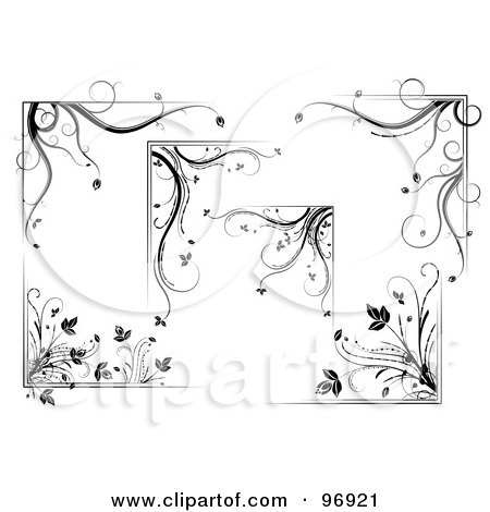 Royalty-Free (RF) Clipart Illustration of a Digital Collage Of Floral Corner Design Elements by MilsiArt