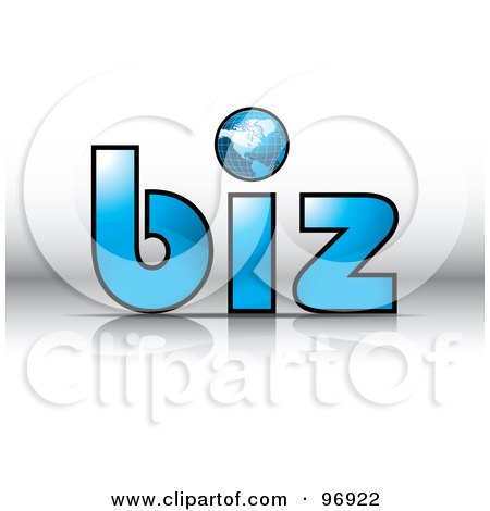 Royalty-Free (RF) Clipart Illustration of a Wire Globe As The Dot For I In The Word Biz by MilsiArt