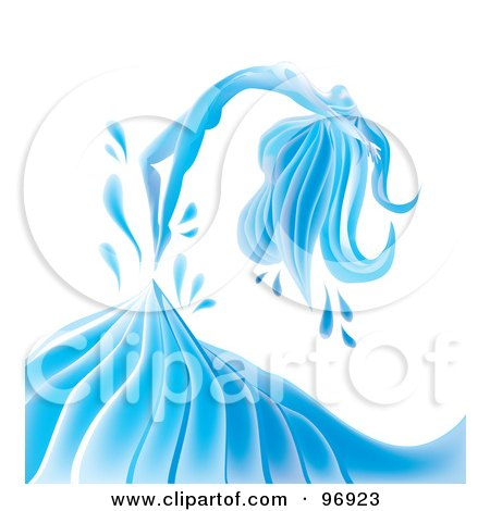Royalty-Free (RF) Clipart Illustration of a Graceful Water Woman Arching Backwards Over A Wave by MilsiArt