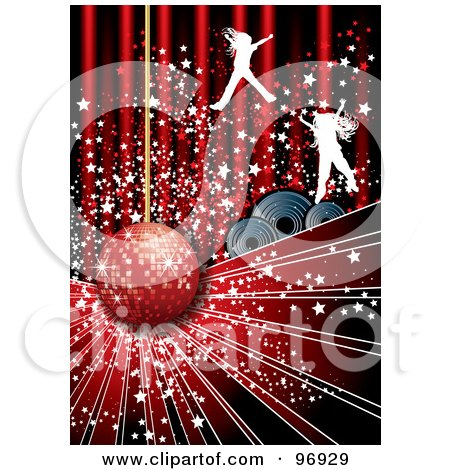 Royalty-Free (RF) Clipart Illustration of Silhouetted Jumping Girls With Stars Over Speakers And A Disco Ball  by MilsiArt