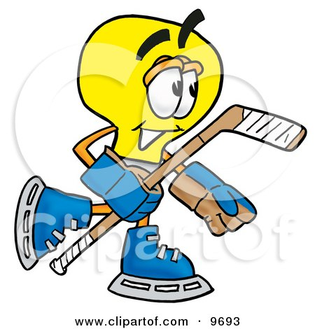 Clipart Picture of a Light Bulb Mascot Cartoon Character Playing Ice Hockey by Toons4Biz