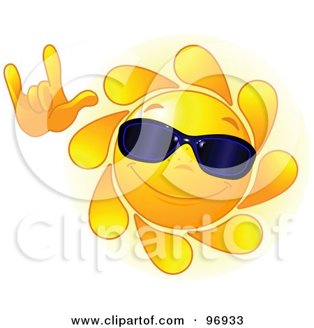 Royalty-Free (RF) Clipart Illustration of a Cute Sun Face Wearing Shades And Gesturing With One Hand by Pushkin