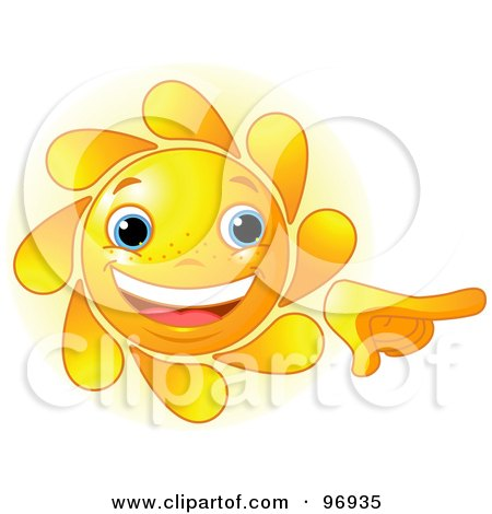 Royalty-Free (RF) Clipart Illustration of a Cute Sun Face Smiling And Pointing by Pushkin
