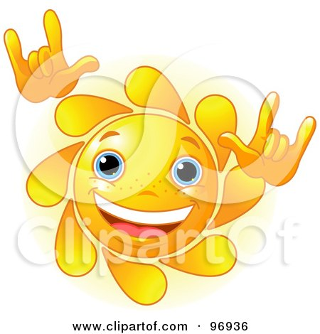 Royalty-Free (RF) Clipart Illustration of a Cute Sun Face Rocking Out by Pushkin