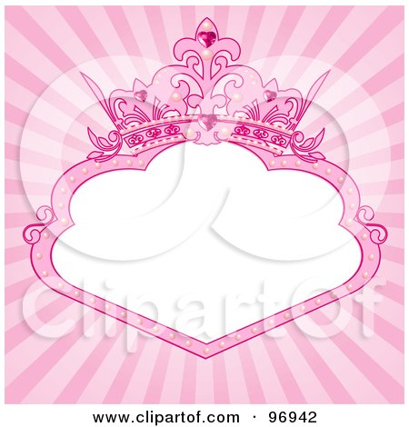 Royalty-Free (RF) Clipart Illustration of a White Princess Text Box With A Pink Tiara Crown Over A Shining Background by Pushkin