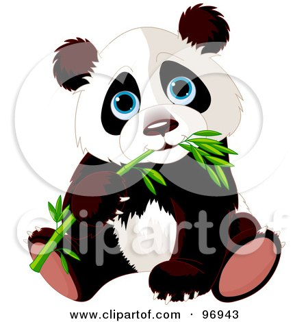 Clipart Cute Sad Panda Bear Sitting - Royalty Free Vector ...