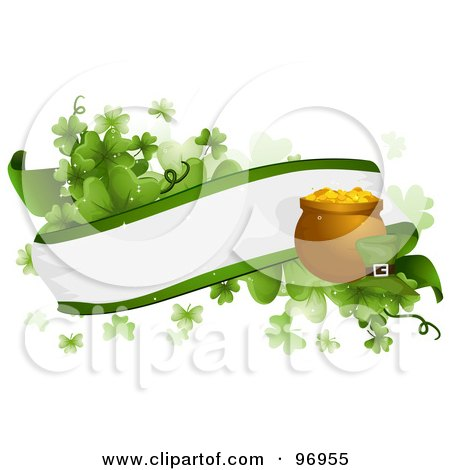 Royalty-Free (RF) Clipart Illustration of a Blank Banner With Shamrocks, A Pot Of Gold And A Leprechaun's Hat by BNP Design Studio