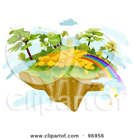 Royalty-Free (RF) Clipart Illustration of a Rainbow Ending At A Pile Of Gold And A Leprechaun Hat On A Floating Island by BNP Design Studio