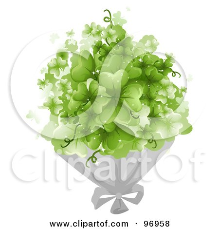 Royalty-Free (RF) Clipart Illustration of a Bouquet Of Magical Green Shamrock Clovers by BNP Design Studio