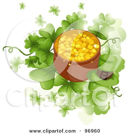 Royalty-Free (RF) Clipart Illustration of a Green Leprechaun Hat By A Pot Of Gold Over Giant Clovers by BNP Design Studio