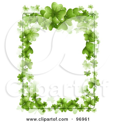 Royalty-Free (RF) Clipart Illustration of a Vertical St Patricks Day Border Of Green Shamrocks And Text Space by BNP Design Studio