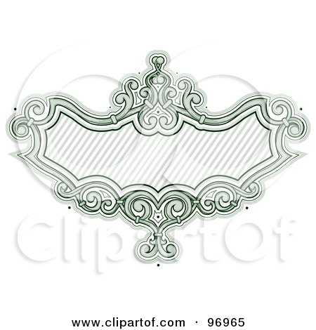 Royalty-Free (RF) Clipart Illustration of a Green Baroque Styled Frame With Diagonal Lines by BNP Design Studio