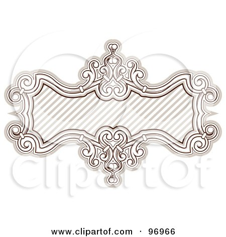 Royalty-Free (RF) Clipart Illustration of a Brown Baroque Styled Frame With Diagonal Lines by BNP Design Studio