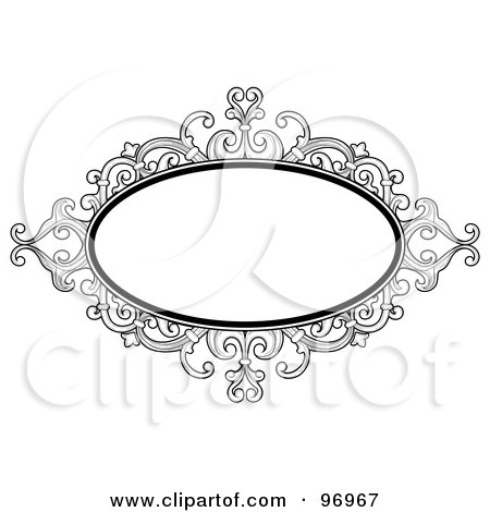 Royalty-Free (RF) Clipart Illustration of a Black And White Baroque Styled Frame by BNP Design Studio
