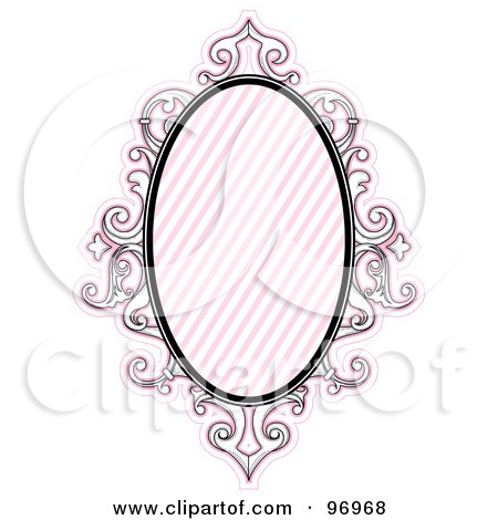 Royalty-Free (RF) Clipart Illustration of a Pink Baroque Styled Frame With Diagonal Lines by BNP Design Studio
