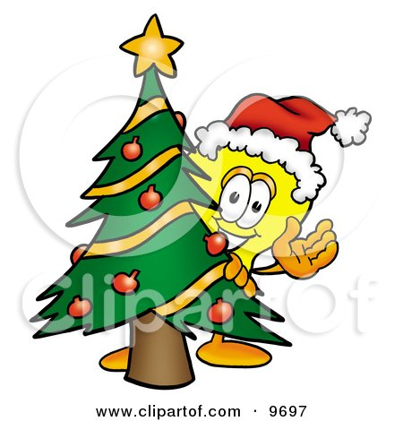 Clipart Picture of a Light Bulb Mascot Cartoon Character Waving and Standing by a Decorated Christmas Tree by Toons4Biz