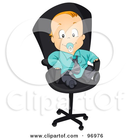 Royalty-Free (RF) Clipart Illustration of a Red Haired Baby Boy In A Suit, Sitting In An Office Chair by BNP Design Studio