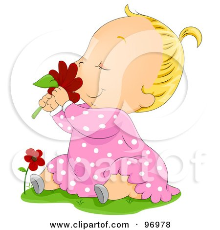 Royalty-Free (RF) Clipart Illustration of a Blond Baby Girl Sitting In Grass And Smelling A Red Daisy by BNP Design Studio