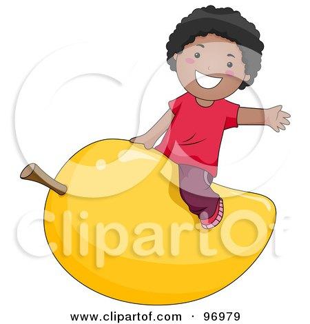 Royalty-Free (RF) Clipart Illustration of a Happy Black Boy Straddling A Giant Mango by BNP Design Studio