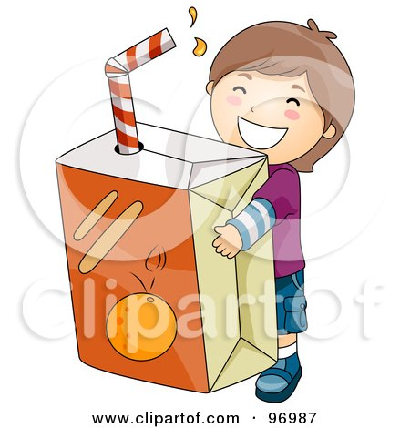 Royalty-Free (RF) Clipart Illustration of a Happy Brunette Boy Carrying A Giant Orange Juice Box by BNP Design Studio
