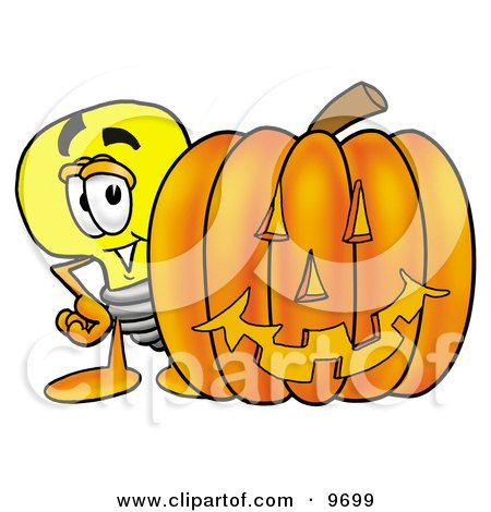 Clipart Picture of a Light Bulb Mascot Cartoon Character With a Carved Halloween Pumpkin by Toons4Biz