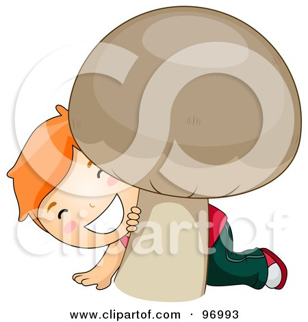 Royalty-Free (RF) Clipart Illustration of a Red Haired Boy Smiling And Peeking Behind A Giant Mushroom by BNP Design Studio