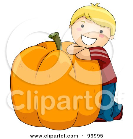 Royalty-Free (RF) Clipart Illustration of a Happy Blond Boy Leaning Against A Giant Pumpkin by BNP Design Studio