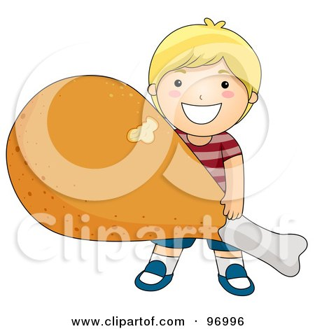 Royalty-Free (RF) Clipart Illustration of a Happy Blond Boy Carrying A Giant Fried Chicken Drumstick by BNP Design Studio