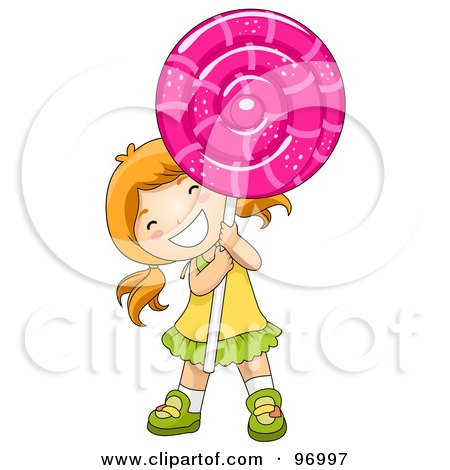 Royalty-Free (RF) Clipart Illustration of a Happy Red Haired Girl Carrying A Giant Loli Pop by BNP Design Studio